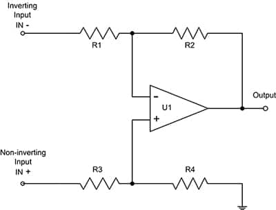 Simplified schematic of a typical current sense amplifier