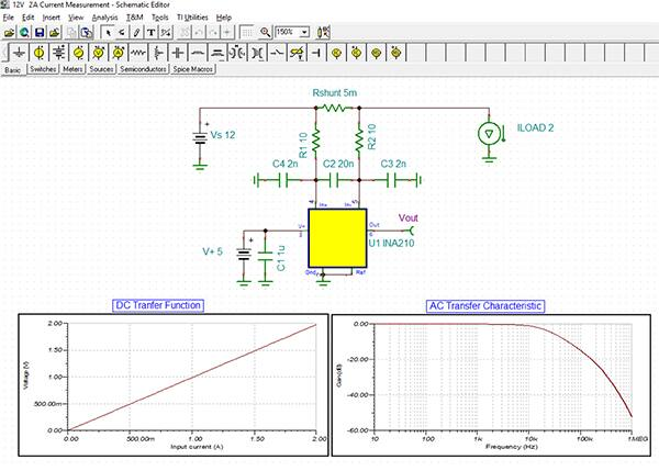 Image of Texas Instruments TINA-TI simulation of the circuit